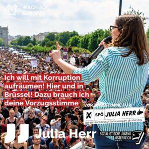 Julia Herr auf der Demo zum Rücktritt von Strache
